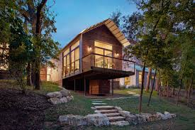 Contemporary Cabins Lake Flato Porch House Module Wemberley Tx Photo By Casey Dunn