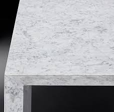 Modern restoration hardware white marble plinth coffee table on chairish.com. Italian Beveled Marble Square Side Table