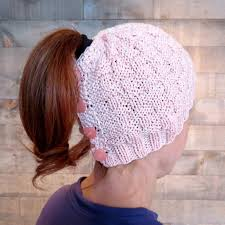 Ponytail Hat Knitting Pattern Classy Basketweave Ponytail Messy Bun Hat Craftsy