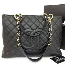 CHANEL Quilted Matelasse Caviar Skin Chain Grand Shopping ...