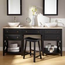 surprising built it bathroom double sink vanity flanking makeup table featuring marbled countertop with shaker cabinets underneath and triple wall mirror