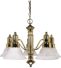 nuvo 60 193 gotham 5 light 25 inch polished brass chandelier ceiling light photo