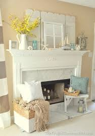 summer mantel ideas love the whites and subtle blues and hint of yellow