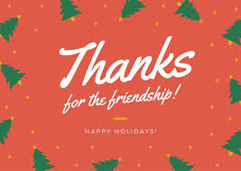 Happy Holiday Card Templates Red Christmas Tree Lines Thank You Holiday Card Templates