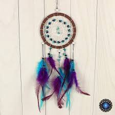 Photos Of Dream Catchers Cool Vibrant Blue Purple Wicker Dream Catcher With Wood Beads