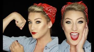 4th of july makeup rosie the riveter inspired pin up glamnanne