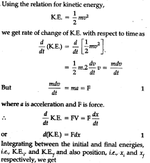 Prove Work Energy Theorem For A Variable Force Cbse Class