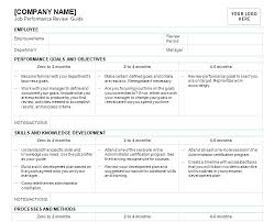 Company Performance Review Template Sample Employee Performance