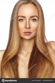 Krásný Yong ženu Dlouhé Rovné Lesklé Vlasy Sexy Modelka Hladký