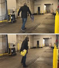 a pair of looped s showing our writer flinging extension cords across a warehouse floor