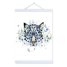 snow leopard watercolor fashion animal portrait wooden framed canvas painting wall art print picture poster kids on snow leopard canvas wall art with snow leopard watercolor fashion animal portrait wooden framed canvas