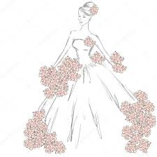 вектор девушка платье эскиз моды девушка в вектора в платье