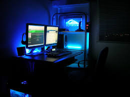 stylish home office computer room. comfortable computer room ideas at home blue lighting stylish general inspiration office m