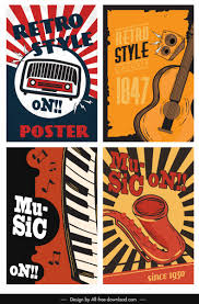 Free Music Poster Templates Music Poster Templates Colorful Retro Design Free Vector In