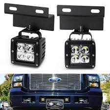 F350 Fog Lights Lower Grille Led Pod Light Fog Lamp Kit For 2005 07 Ford F250 F350 F450 Excursion 2 20w Cree Led Cubes Foglamp Mounting Brackets Wiring Switch