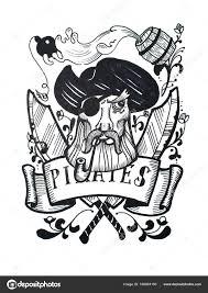 пиратское тату перо и чернила марочных рисунок пиратский капитан
