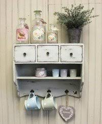 Shabby Chic Wooden Vintage White Wall Unit Cupboard Rack 3 Drawers Shelf &  Hooks