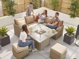 casual fire pit rattan furniture