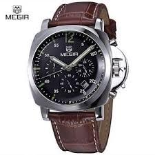 megir 3006 chronograph brown quartz luxury leather band men 039 s image is loading megir 3006 chronograph brown quartz luxury leather band