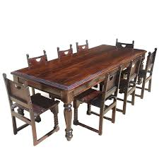 Large Rustic Solid Wood Dining Room Table W  Leather Chairs Set - Solid wood dining room tables