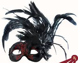 Decorative Masquerade Masks Red and Black Venetian Party Mask with Feathers 99