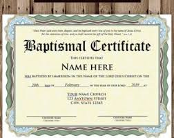 Baptism Certificate Baptism Certificate Etsy