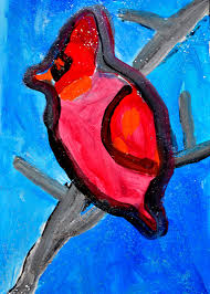prior to leaving for winter break i decided to introduce a directed painting assignment with the kindergarten and 1st grade art students on a cardinal in