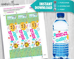 waterbottle labels emoji water bottle labels emojis party favors printable labels