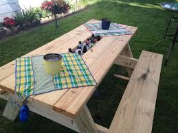 rustic picnic table with planter in middle picnic table kit ideas diy doll furnitu on deck