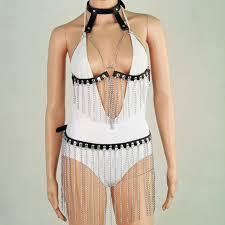 chran classic leather bra harness skirts chain dress tassels style metal chain jewelry