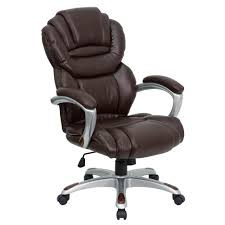high back brown leather executive swivel office chair with leather padded