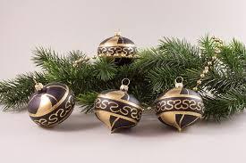 4 Zwiebeln Schwarz Gold Weihnachtsbaumkugeln Aus Lauscha