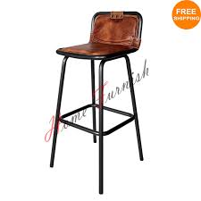 industrial bar stool leather seat with back brown leather stool 160 including home delivery we ship worldwide