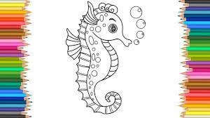 Seahorse Coloring Page L Coloring Markers Videos For Children Learn