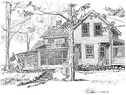 farm fence drawing. Michael Garr Artwork: The Conklin House | Original Drawing Pen . Farm Fence