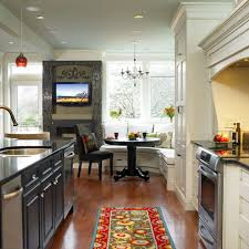 Tv In Kitchen Breakfast Nook Bench Seating Kitchen Traditional With White Wood