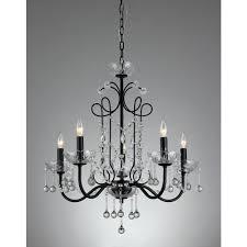 donna 5 light black indoor crystal chandelier with shade