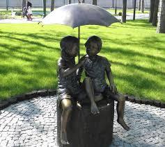 children garden statues. Boy And Girl Under An Umbrella Fountain Children Garden Statues