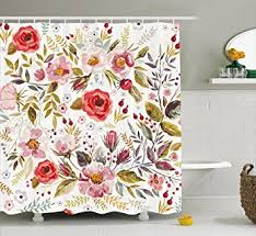 vintage shower curtain. Vintage Shower Curtain By Ambesonne, Floral Theme Hand Drawn Romantic Flowers And Leaves Illustration,