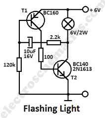 flashing light circuit transistors flashing light circuit diagram