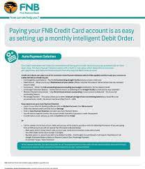 To get yours, call 0300 555 0286 *. Paying Your Fnb Credit Card Account Is As Easy As Setting Up A Monthly Intelligent Debit Order Pdf Free Download