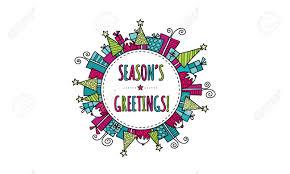 Seasons Greetings Bright Modern Christmas Doodle Vector