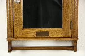 Antique Medicine Cabinet Sold Barber Shop Signed American Linen Hanging Antique Oak