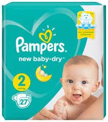 <b>Pampers подгузники New</b> Baby Dry 2 (4-8 кг) 27 шт. — купить по ...