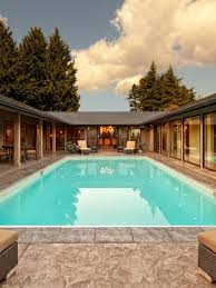 Contemporary courtyard rectangular pool idea in Portland