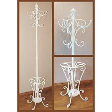 Metal coat hat & umbrella stand antique white ivory wrought iron effect shabby  chic