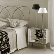 mirrored furniture decor. Bedroom:Attractive Bedroom Decor With Mirror Nightstand Two Drawers Side Table Desk Lamp On Top Mirrored Furniture