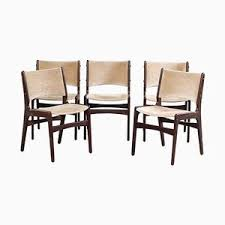 dining chairs in solid teak and grey velvet by erik buch for odense maskinsnedkeri 1950s