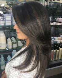 Smokey Ash Brown Balayage On Black Hair Hair Coloring