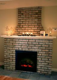 brick fireplace construction by building an electric fireplace with brick facade